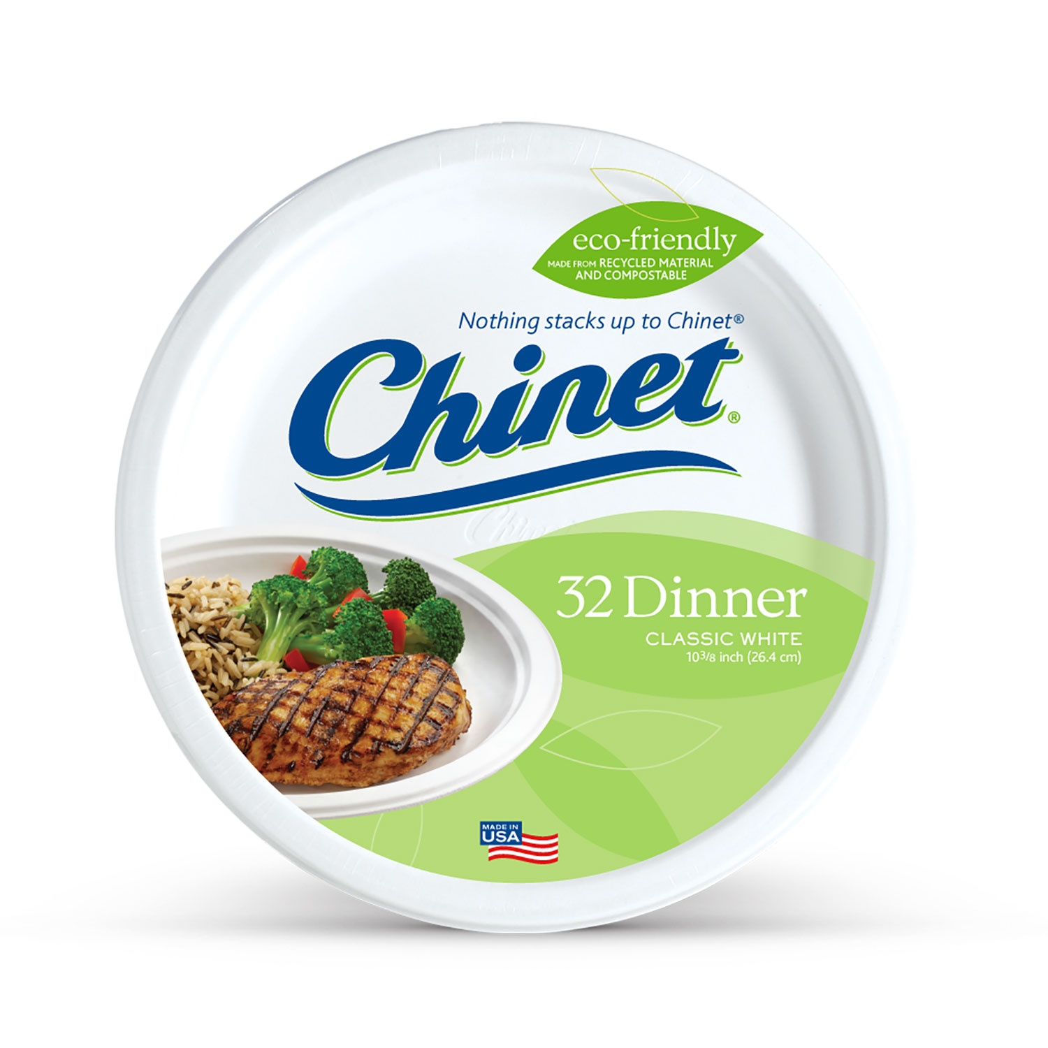 "Chinet Classic White Dinner Paper Plates, 10 3/8"", 32 Count"