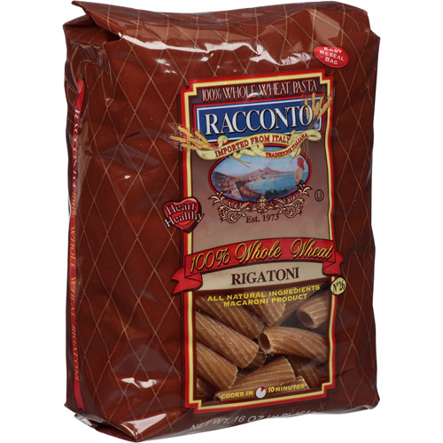 Racconto 100% Whole Wheat Rigatoni Pasta, 16 oz, (Pack of, 12)