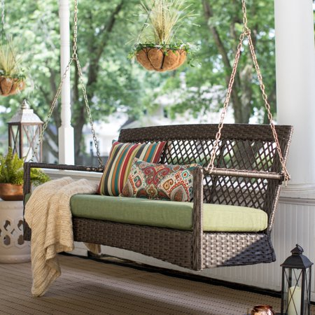 Belham Living Asheville 4.9 ft. Resin Wicker Porch Swing with Cushion ()