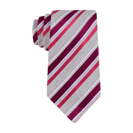GEOFFREY BEENE Mens Not So Basic Stripe Classic Tie Necktie Berry & (Geoffrey Beene Mens Stripe)