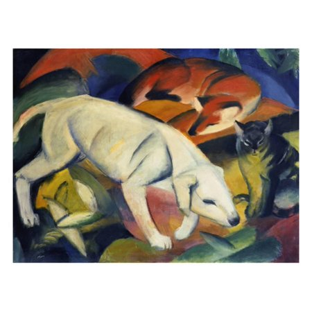 Three Animals (A Dog, a Fox, and a Cat), 1912 Print Wall Art By Franz -