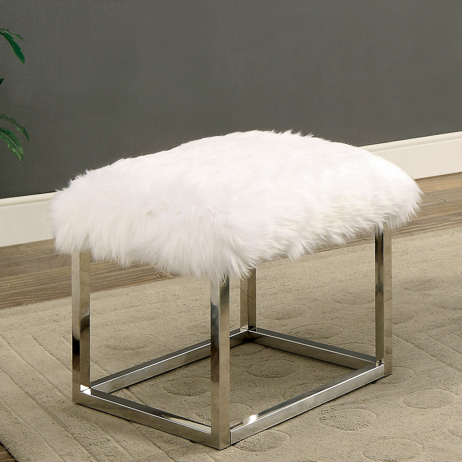 Furniture of America Euna I Contemporary Faux Fur Small Bench, Multiple Colors