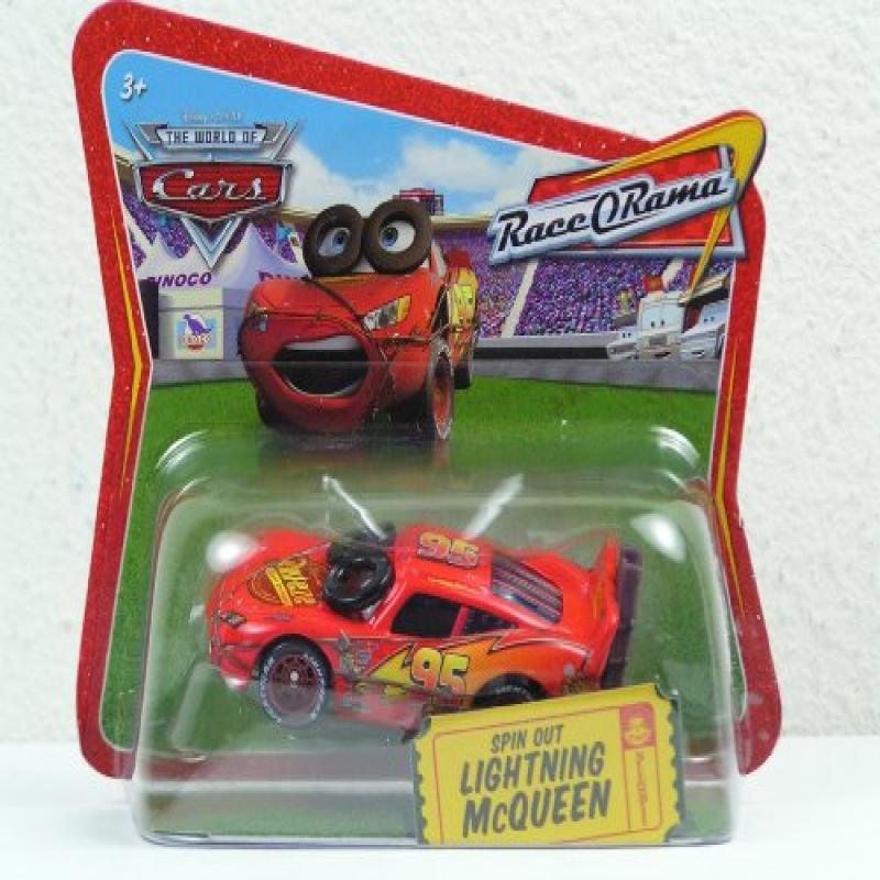 Disney World Of Cars Race O Rama Short Card Spin Out Lighting McQueen #36 1:55 Scale Mattel