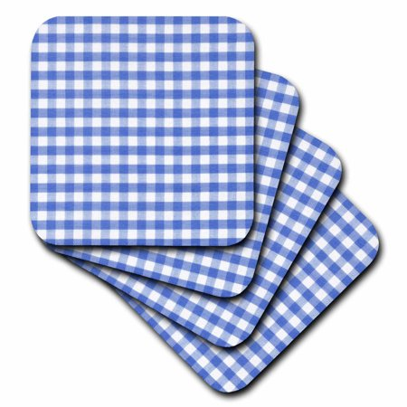 3dRose Dark Blue and white Gingham pattern - cute navy retro checks checkered checked kitchen dining theme, Soft Coasters, set of 4 Dining Set Coaster