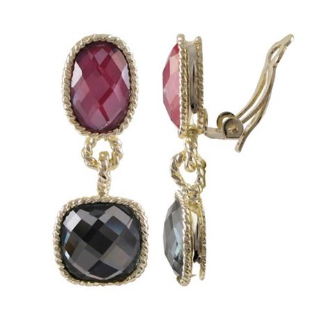 Gray Gemstone Earrings - Dlux Jewels Gold Plated Brass Clip Earrings Dark Red & Grey Color
