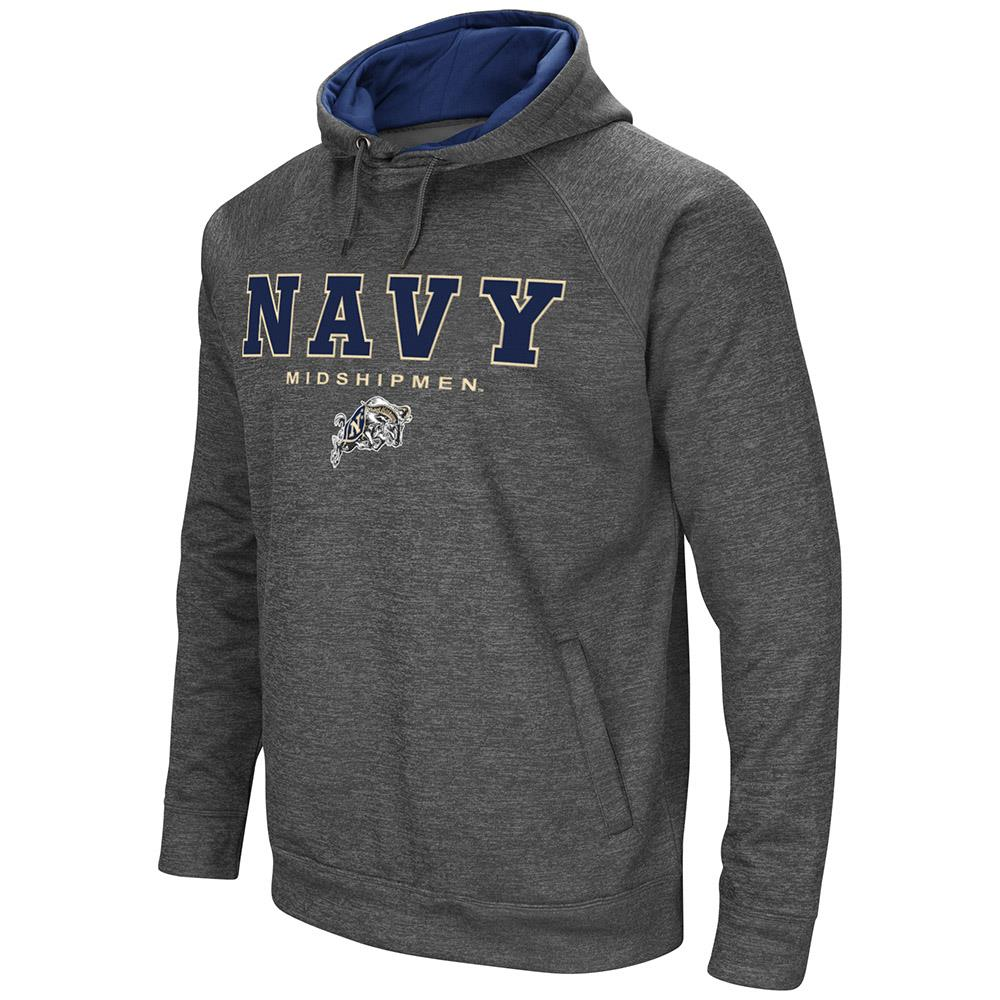 Mens Navy Midshipmen Heather Charcoal Pull-over Hoodie by Colosseum