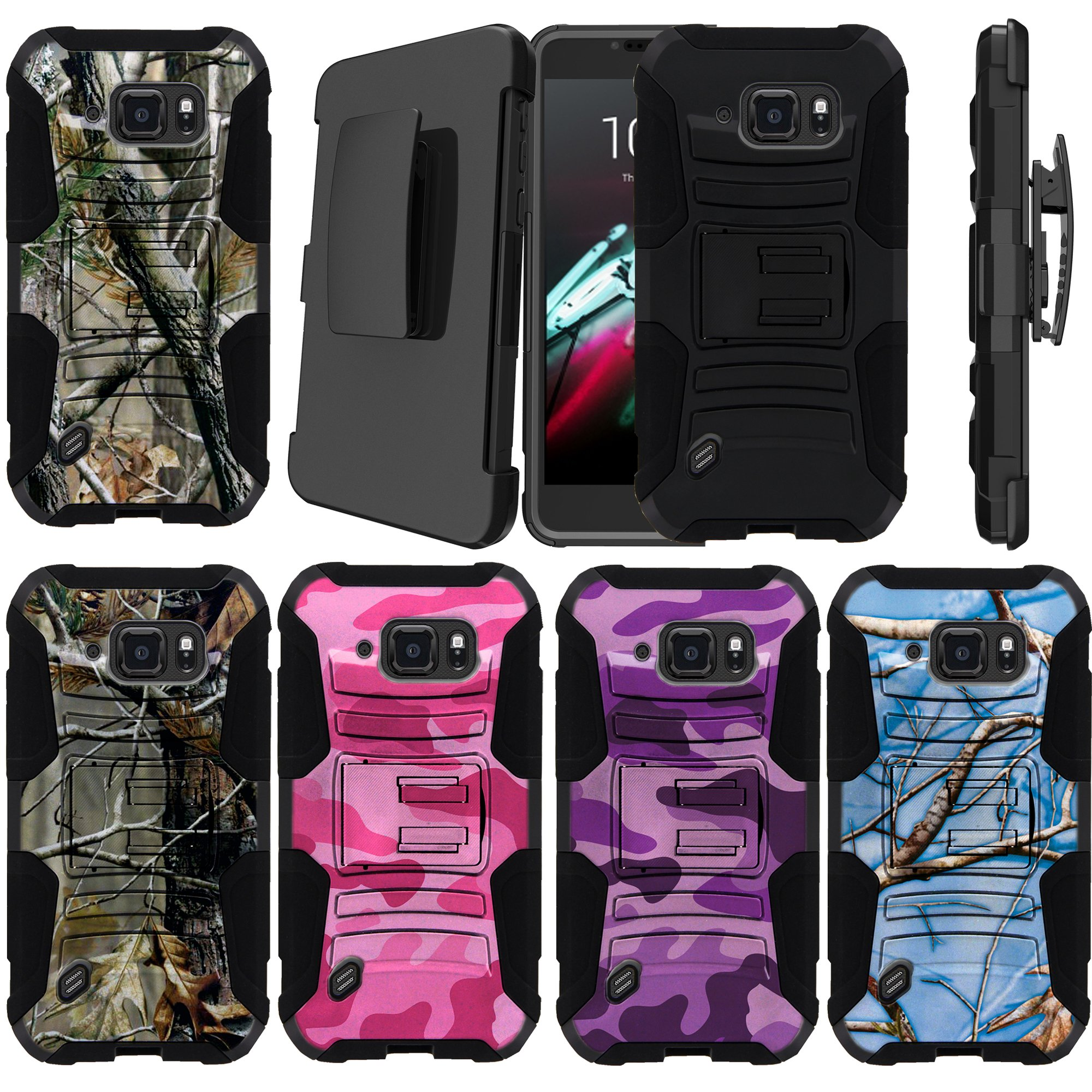Samsung Galaxy S6 Active Model [NOT FOR REGULAR S6] Holster Case [Camo Case][Camouflage Phone Case Series] w/ Built-In Kickstand + Bonus Holster - Plain Black /No Design