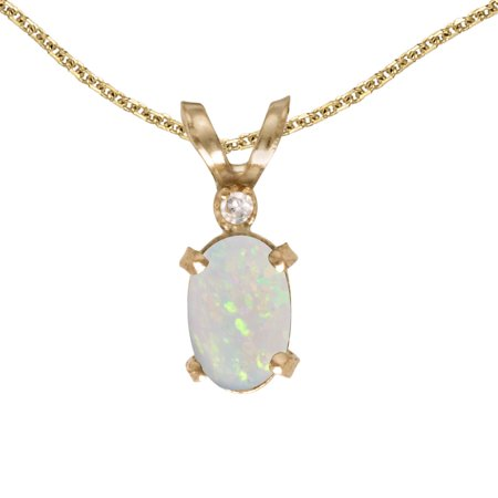 - 10k Yellow Gold Oval Opal And Diamond Filigree Pendant with 16