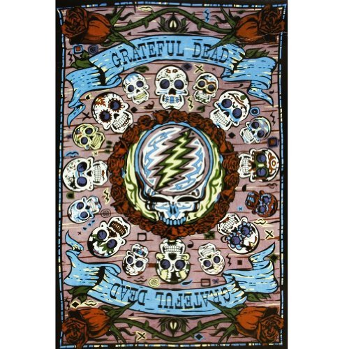 Sunshine Joy Grateful Dead 3D Mexicali Sugar Skulls Tapestry Tablecloth Wall Art Beach Sheet Huge 60x90 Inches - Amazing