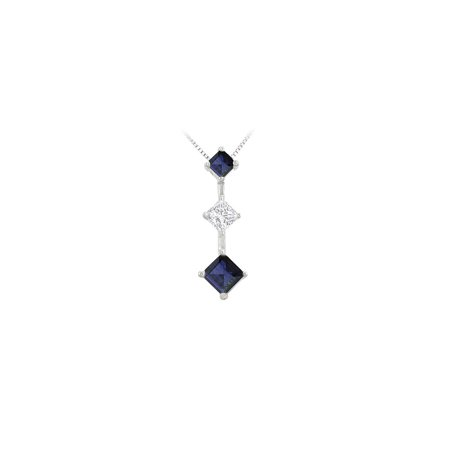 Created Sapphire and Cubic Zirconia Pendant 925 Sterling Silver 1.00 CT TGW - image 5 de 5