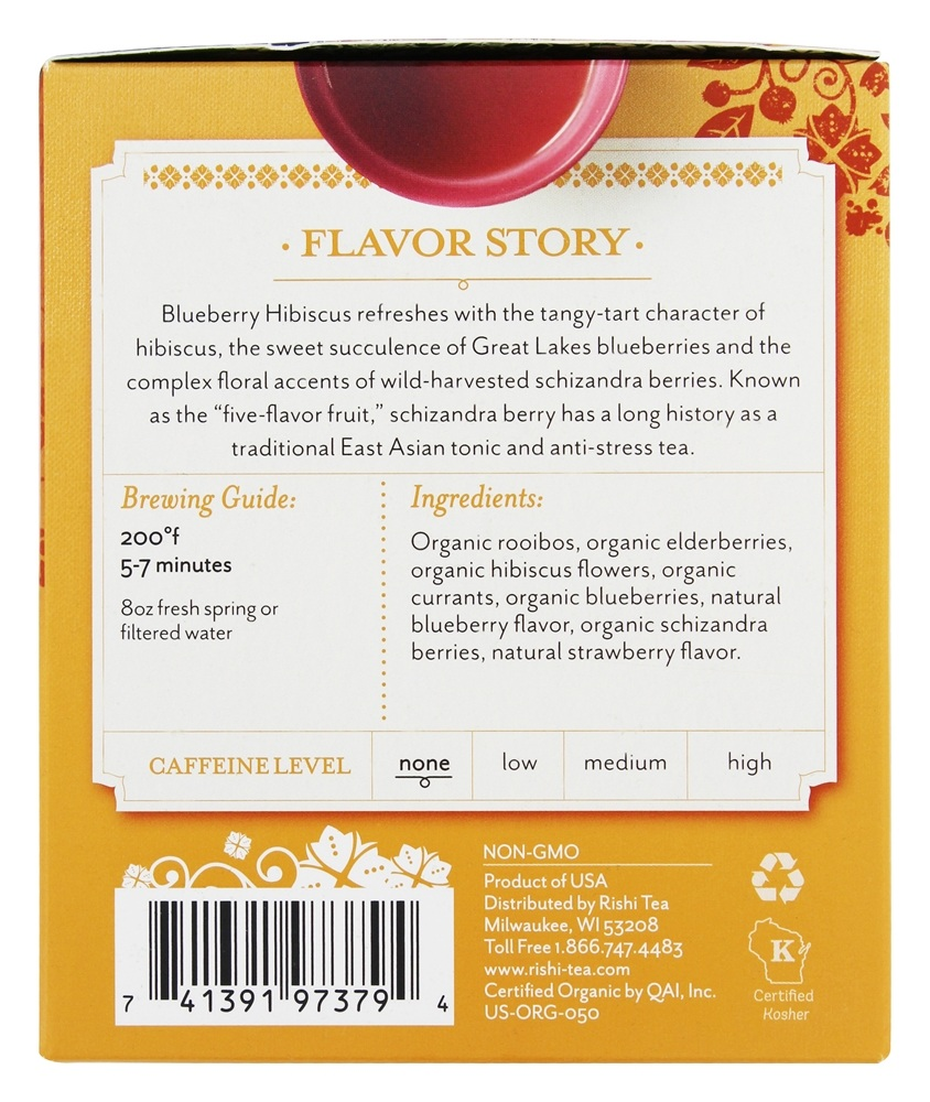 Rishi Tea Organic Herbal Tea Caffeine Free Blueberry Hibiscus 15 Tea