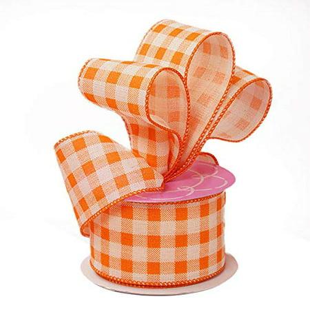 Orange Gingham Ribbon Wired Burlap - 2 1/2 Inch x 10 Yards, Fall Decor, Christmas, Birthday, Wedding Decor ()