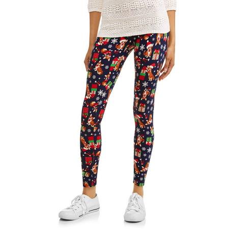 b9134e7e2560bf Time and Tru - Women's Printed Holiday Leggings - Walmart.com
