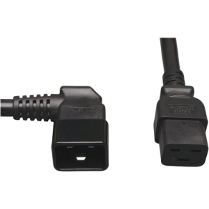 """Tripp Lite 2ft Power Cord Extension Cable C19 to Left Angle C20 Heavy Duty 20A 12AWG 2' - 20A, 12AWG (IEC-320-C19 to Left Angle IEC-320-C20) 2-ft."""" 20A C19 TO LEFT C20 HEAVY DUTY"""