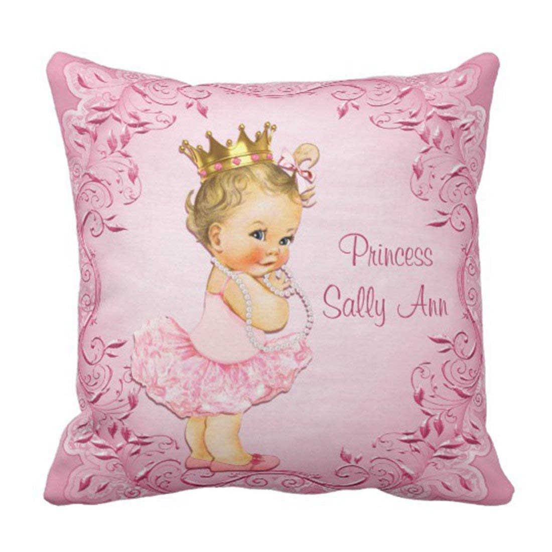 WOPOP Cute Baby Princess Ballerina Pink Vintage Girl Pillowcase Cushion Cover 16x16 inches
