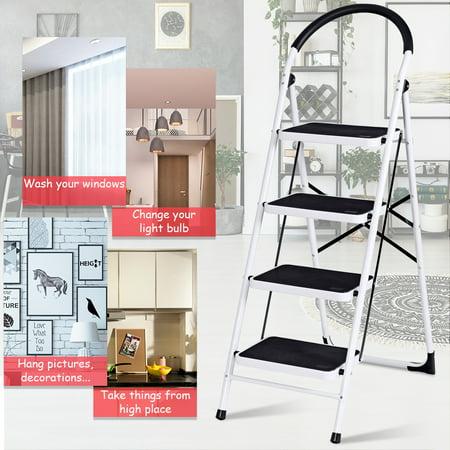 Fantastic 4 Step Ladder Folding Stool Heavy Duty 330Lbs Capacity Machost Co Dining Chair Design Ideas Machostcouk