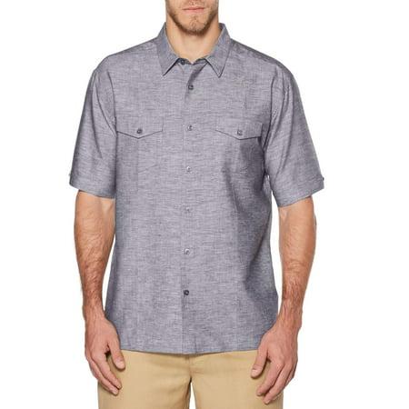 Cafe Luna Mens and Big Mens Short Sleeve Linen Cotton Single Tuck Shirt