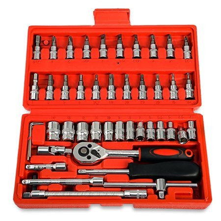 Replaitz 46pcs 1/4-Inch Socket Ratchet Wrench Combo Tools Kit for Auto (Ratcheting Socket Wrench)