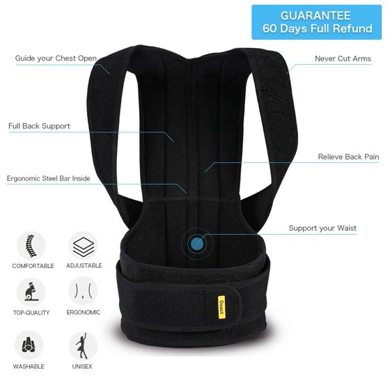 9ca87252037 Posture Back Brace Support Belts for Upper Back Pain Relief ...