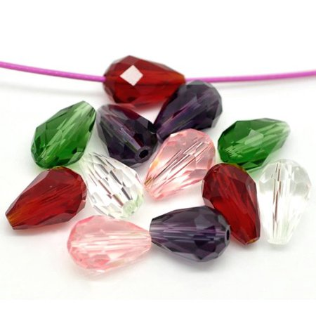 40 Faceted 11x8mm Machine Cut Drop Pear Glass, Loose Beads, Random Mix Cut Faceted Pear