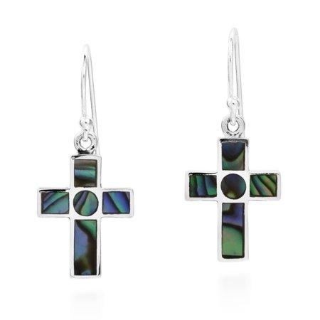 Rainbow Cross Inlaid Abalone Sterling Silver Dangle Earrings Dangling Shell Cross