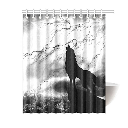 GCKG Black And White Gray Shower Curtain Wildlife Animal Howling Wolf Polyester Fabric Bathroom Sets With Hooks 60x72 Inches