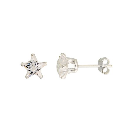 Sterling Silver Cubic Zirconia Star Earrings Studs 6 Mm