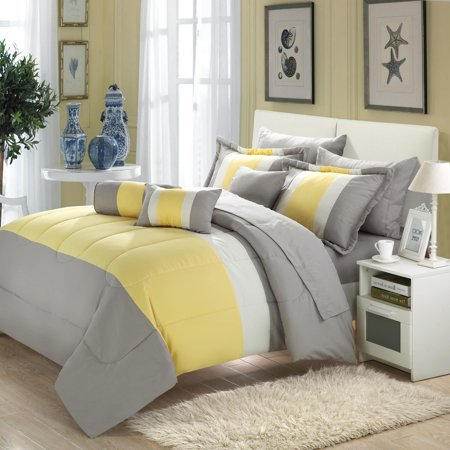 Yellow Comforter - Serenity Yellow & Grey 10 Piece Comforter Bed In A Bag Set