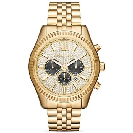 Michael Kors Men's Gold-Tone Lexington Chronograph Watch (Best Replica Michael Kors Watches)