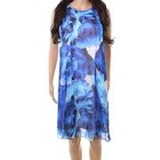 Calvin Klein NEW Blue Womens Size 12 Floral-Print Chiffon Shift Dress