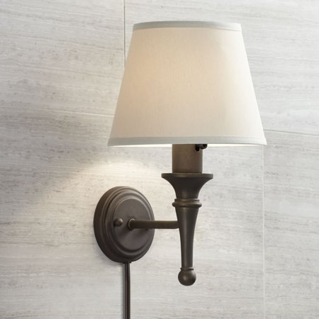 Regency Hill Farmhouse Wall Lamp Bronze Plug-In Light Fixture Ivory Cotton Empire Shade for Bedroom Bedside Living Room Reading Side Bathroom Fixture