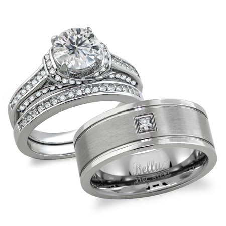 His And Hers Matching Wedding Rings Stainless Steel Cubic Zirconia Wedding Rings Set And Center Brushed Wedding Band Women S Size 05 Men S Size 09