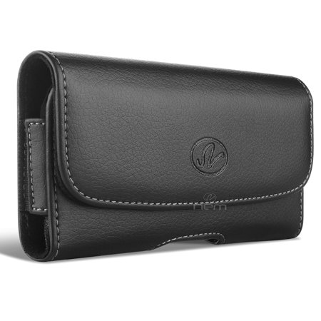 Virgin Mobile ZTE Prestige 2 Premium High Quality Black Horizontal Leather Case Pouch Holster with Belt Clip and Belt Loops (Virgin Mobile Zte N800)