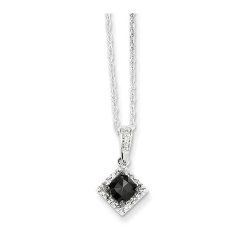 14k White Gold w/ Black and White Diamond Pendant. Carat Wt- 0.5ct