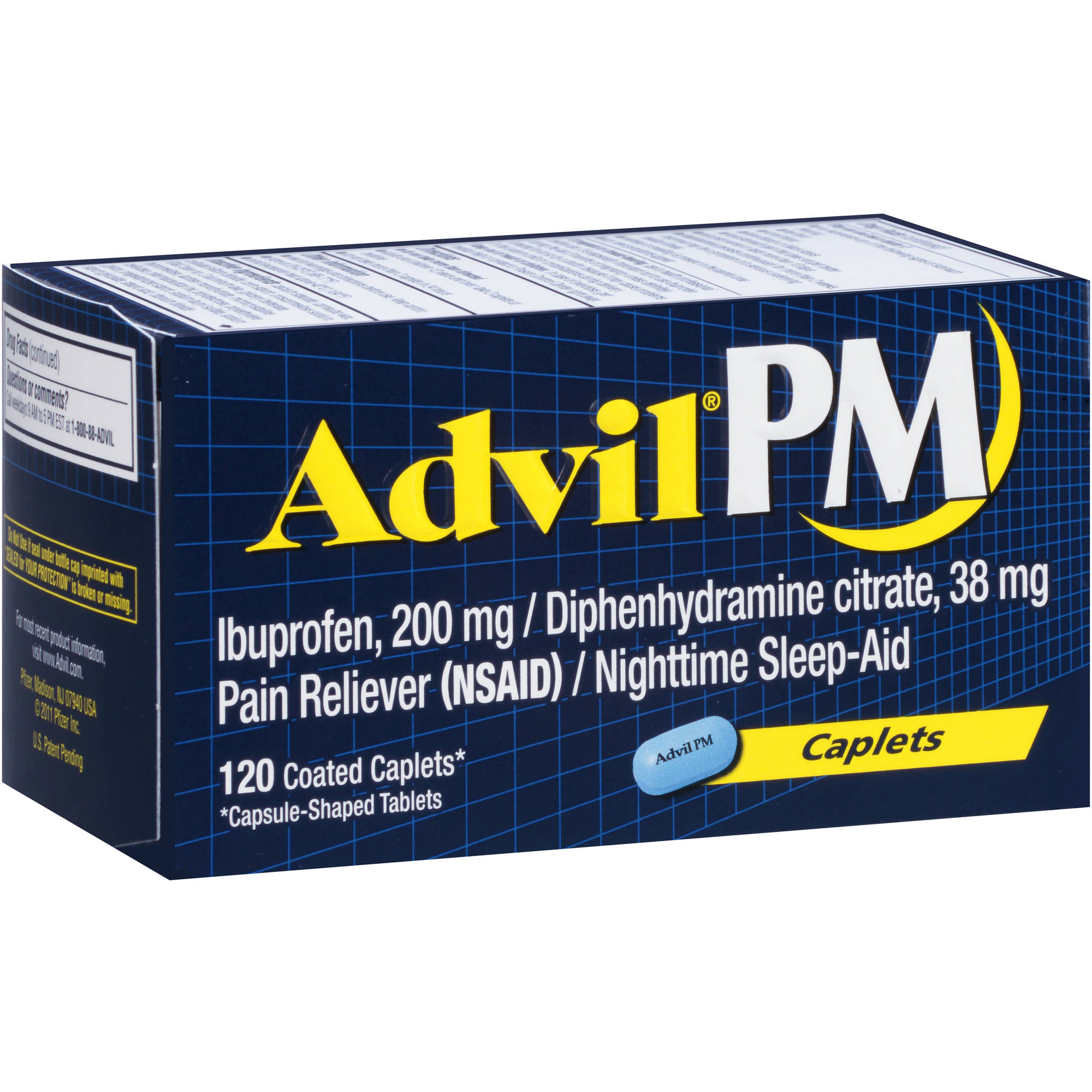 Advil PM Pain Reliever / Nighttime Sleep Aid (Ibuprofen and Diphenhydramine) 120 Count