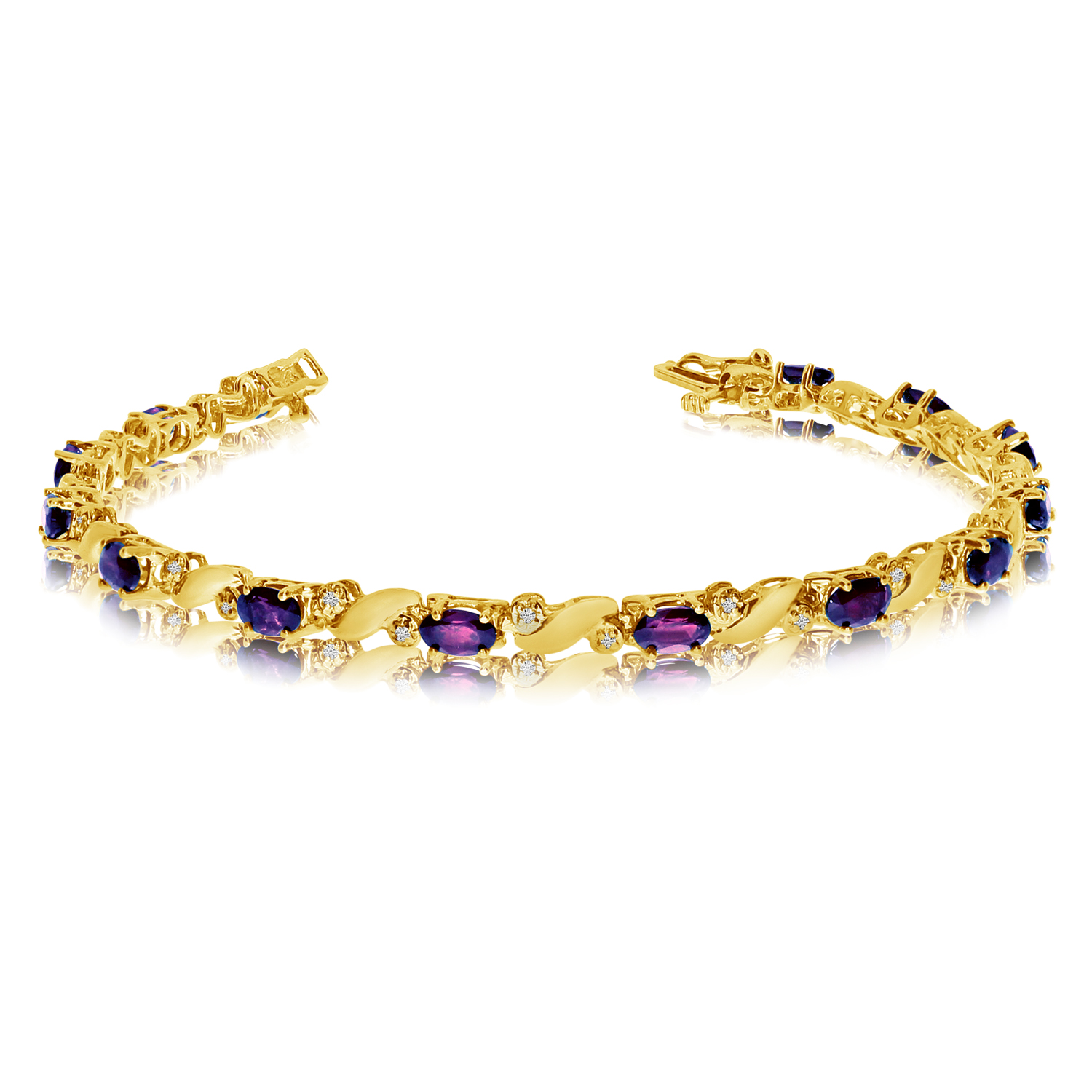 14k Yellow Gold Natural Amethyst And Diamond Tennis Bracelet by LCD