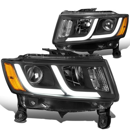 For 2014 to 2016 Jeep Grand Cherokee LED DRL Projector Headlight Black Housing Amber Corner Headlamp 12