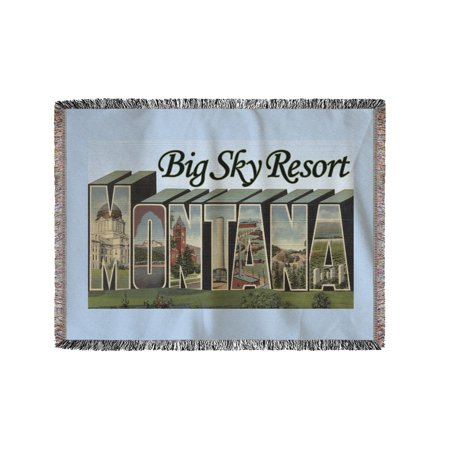 Big Sky Resort, Montana - Large Letter Scenes (60x80 Woven Chenille Yarn Blanket) (Big Toy Store Scene)