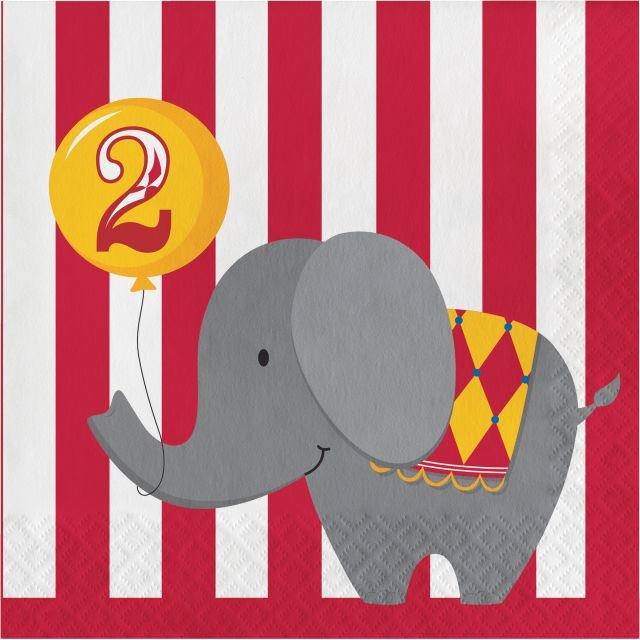 Party Creations 2nd Birthday Circus Time Lunch Napkins, 16 Ct