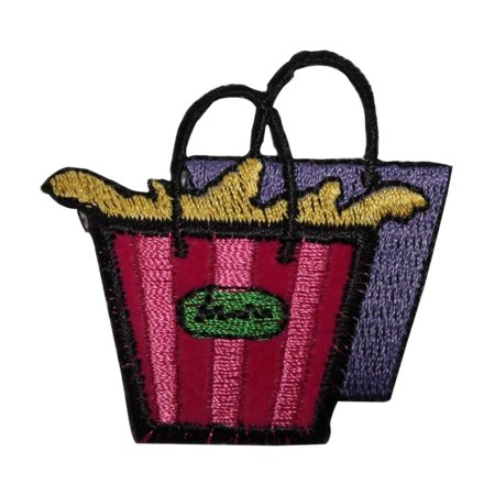 ID 8395 Shopping Bags Patch Store Gift Tote Fashion Embroidered Iron On Applique