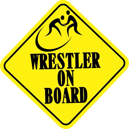 6Inx6in Wrestler On Board Bumper Sticker Caution Car Vinyl Truck Stickers