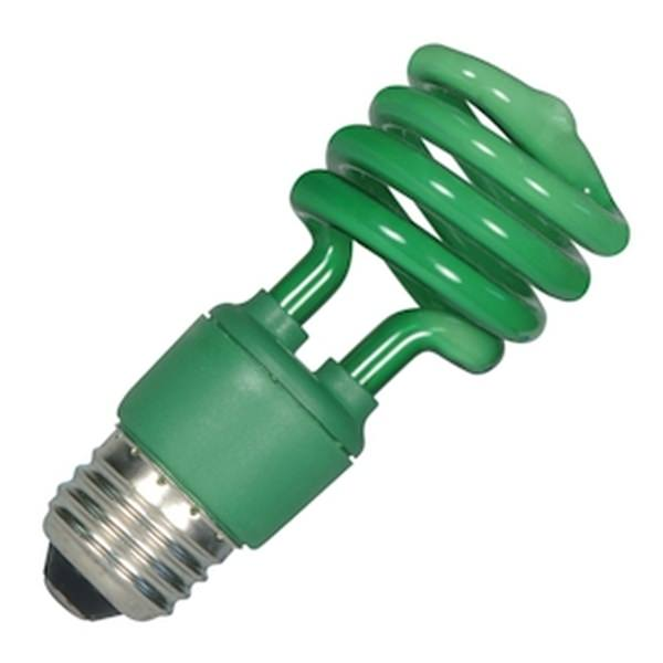 Satco 07272 13T2 Green S7272 Twist Medium Screw Base Compact Fluorescent Light Bulb by Satco