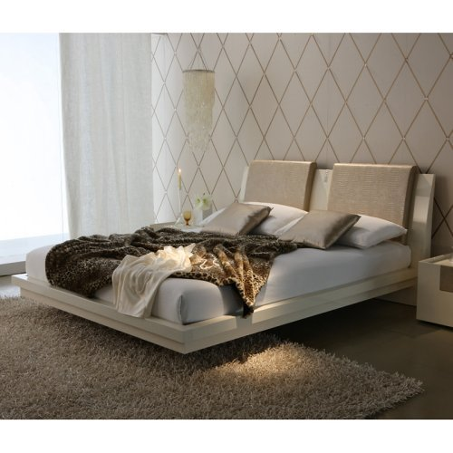 Ivory Diamond Leather Platform Bed