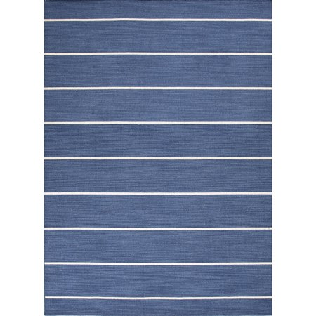 Blue And White Striped Rug (5' x 8' Sapphire Blue and White Striped Cape Cod Flat Weave Area Throw Rug )