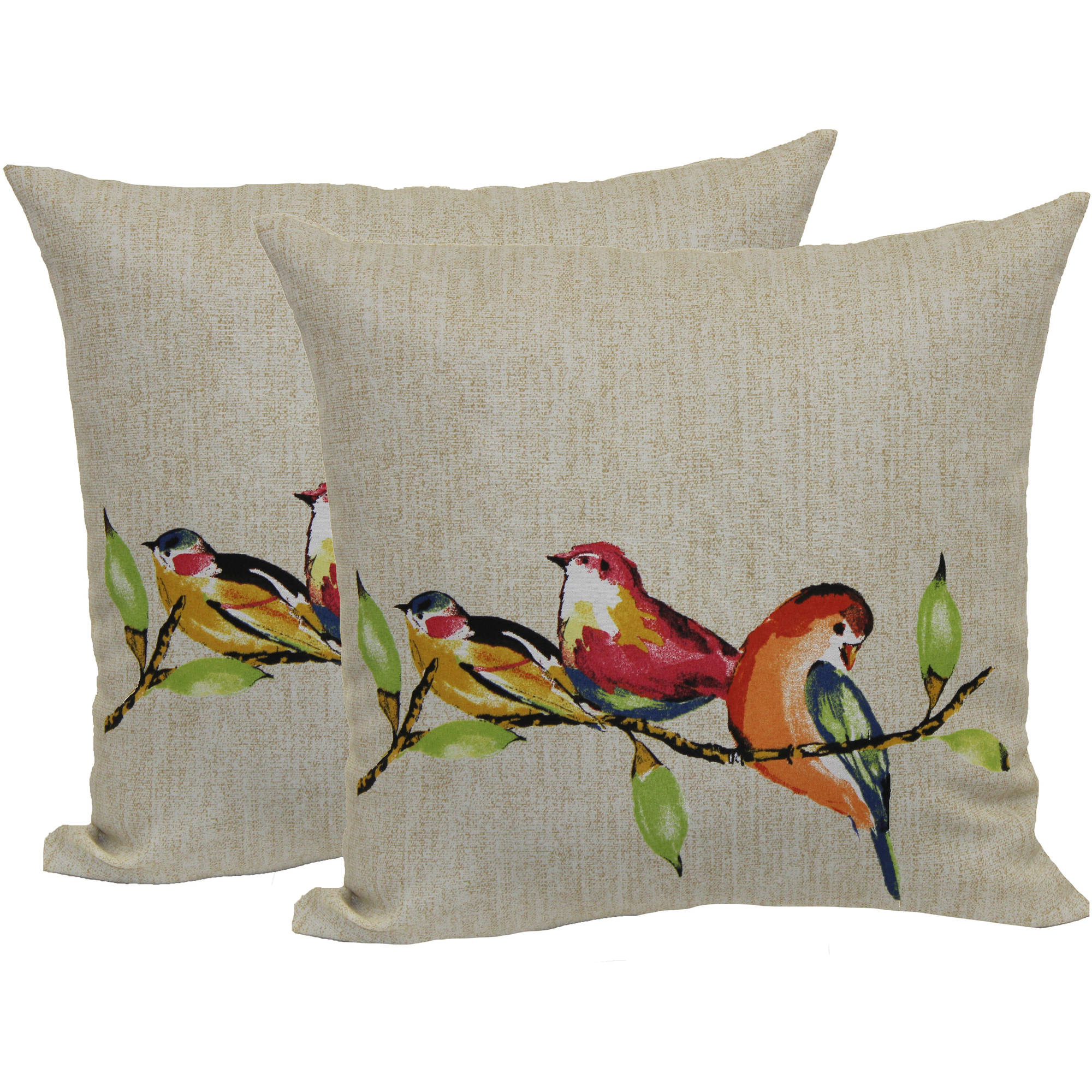 Mainstays Painted Birds Toss Pillow, 2-Pack by Brentwood Originals