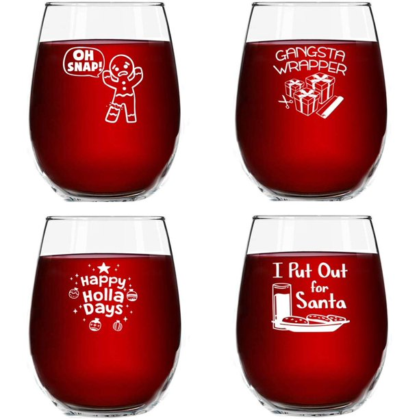 Christmas Puns Funny Stemless Wine Glasses Set Of 4 15 Oz Cheerful Holiday Party Cups Naughty And Hilarious Gift Exchange Idea For Dirty Santa Or White Elephant Walmart Com Walmart Com