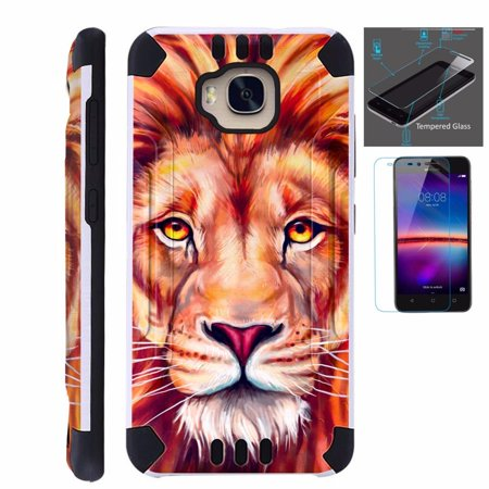 innovative design e0303 144a2 For Huawei Ascend XT Case H1611 + Tempered Glass Screen Protector / Slim  Dual Layer Brushed Texture Armor Hybrid TPU KomBatGuard Phone Cover ( Lion )