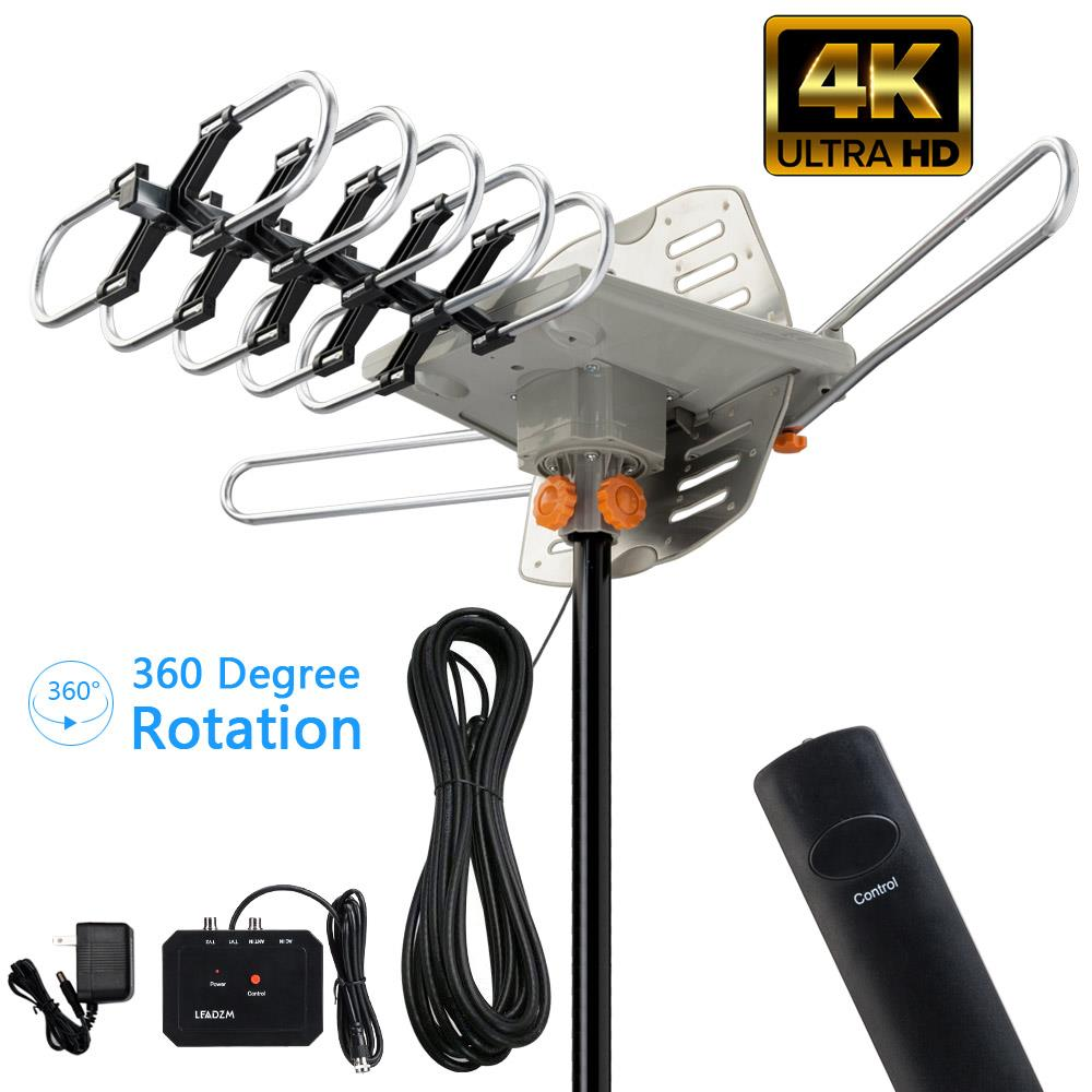Leadzm 200miles TV Antenna Amplified Long Range Outdoor HD Digital 360° Rotating
