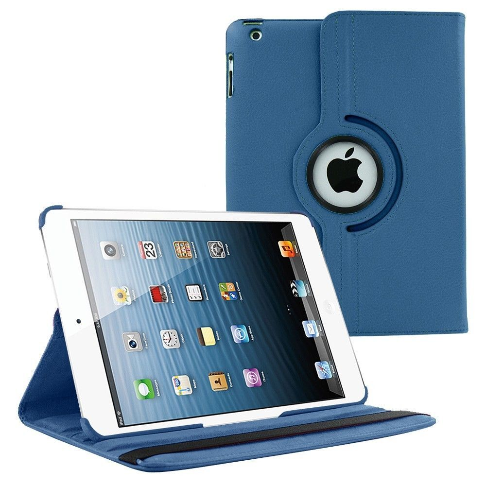 iPad Air 1 (1st Generation 9.7 inch) Case by KIQ 360 PU Leather Swivel Case Rotating Fitted Slim Cover Multi-View For Apple iPad AIR 1 (1st Gen) 9.7, Dark Blue