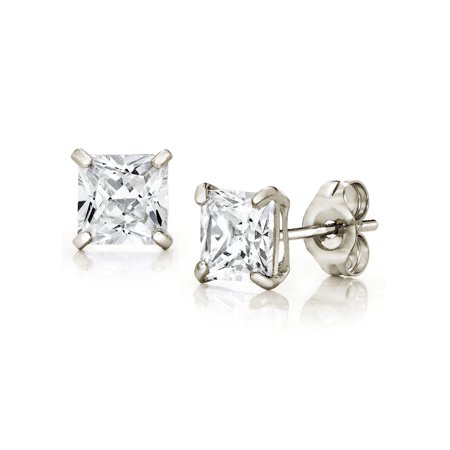 Jewelers 14K White Gold 5MM Princess-Cut Stud Earrings made with Crystals Swarovski BOXED ()